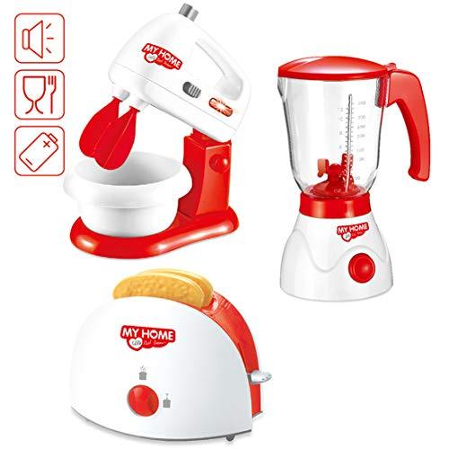 deAO KAIMING ausgewählte Spielzeugküchengeräte mit einem Handmixer, einem Mixgerät , einem Toaster und Artikeln von Speilzeugessen
