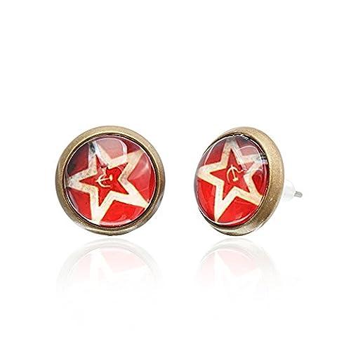 Chic-Net Brass Ohrstecker Stern Sterne bunt Unisex Ohrringe Edelstahl nickelfrei Kommunismus 12 mm