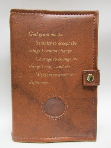 Deluxe Double Alcoholics Anonymous AA Big Book & 12 Steps & 12 Traditions Book Cover Medallion Holder Tan by Culver Enterprises -