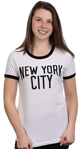 Retro New York City | Iconic NYC Lennon Ringer Vintage Women Girly T-Shirt Top -