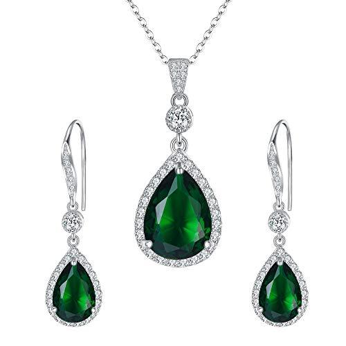 Clearine Damen Schmuckset 925 Sterling Silber Hochzeit Braut Zirkonia Infinity Teardrop Anhänger Halskette Haken Baumeln Ohrringe Set Smaragd-Grün