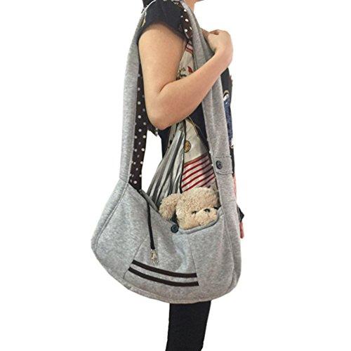 SAMGOO Mode komfortabel Vlies Haustier Tasche Hundetasche Pet Rucksack Umhängetasche Messenger Bag für klein Haustier Katze Hunde Welpen (grau)