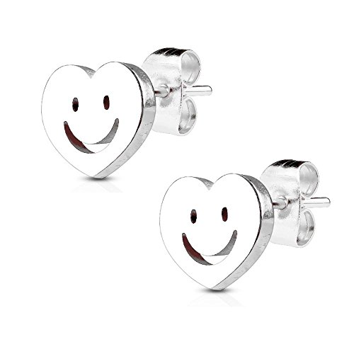 Bungsa silberne SMILEY OHRSTECKER - Herz Ohrringe silber mit lächelndem Gesicht - silberfarbene EDELSTAHL Ohrstecker - Emoji-Schmuck für Damen & Herren - lachendes Gesicht Ohrschmuck SET