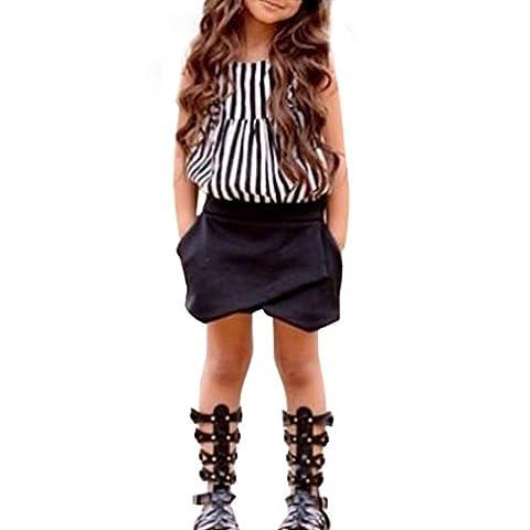 Mädchen Anzüge Internet Gestreiftes T-shirt Tops und Shorts Hose Set (120)