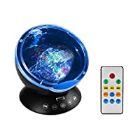 Anpress Ocean Wave Projector Lamp Remote Control Built-in Mini Music Player TF Card Slot 4 Sounds 7 Colorful Light Projection Sleep Nightlight for Baby Kids Adults Bedroom Living Room