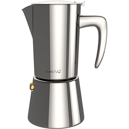 bonVIVO Intenca Cafetera Italiana Express De Inducción De Acero Inoxidable - Cafeteras Express para Espresso - Color Plata