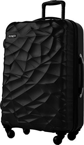 Pianeta 'Islanda' robusto policarbonato ABS miscela rigida valigia 4 ruote in 3 colori (XL nero)