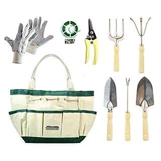 GardenHOME 9 Stück 5 robuste Edelstahlhandschuhe, Gartenschere, Pflanzenkrawatte und Werkzeug-Aufbewahrungstasche, Geschenkset für alle Gartenbedürfnisse, HG1914
