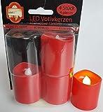 Unbekannt LED-Votivkerzen, rot, 40/40, 4 Stück