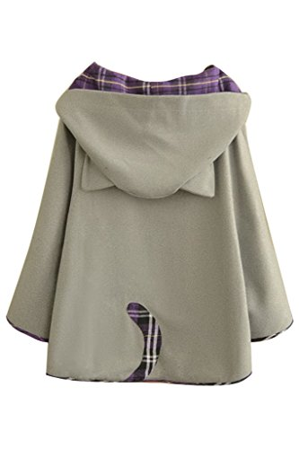 Aza Boutique, mantella da donna in tweed, con cappuccio, bottoni, orecchie di gatto 1_Gray