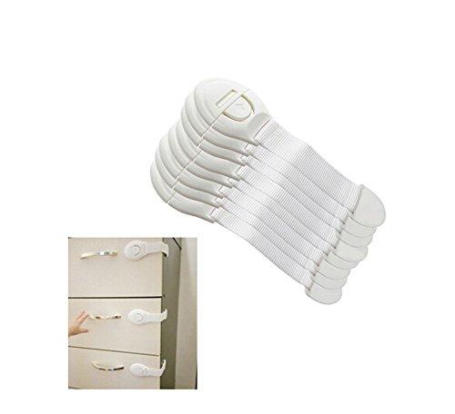 ODN 10pcs verlaengerte Kind-Verschluss-Kabinett-Verschluss-Kuehlraum-Tuer-Verschluss-Schubladen-Sicherheits-Plastikverschluss fuer Babysorgfalt