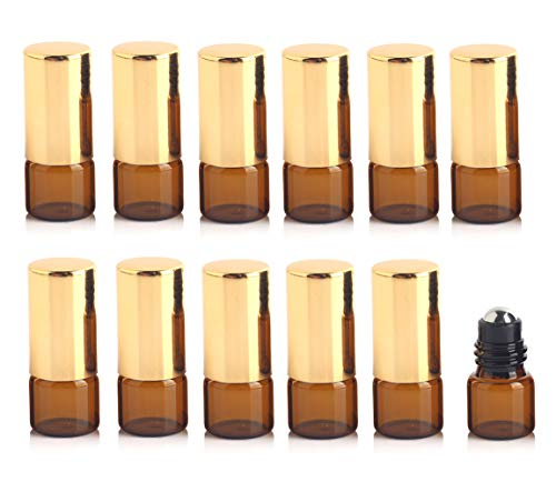 12 STÜCKE 1 ML 0,03 UNZE Leere Nachfüllbare Brown Glas Roll-on Flasche mit Golddeckel und Edelstahl Roll Ball Tragbare Parfüm Ätherisches Öl Aromatherapie Glas Fläschchen Kosmetikbehälter