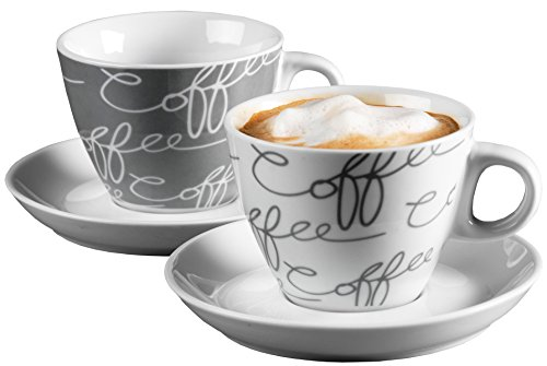 Ritzenhoff & Breker Cappuccino-Set Cornello 4-teilig, Grau, 180 ml