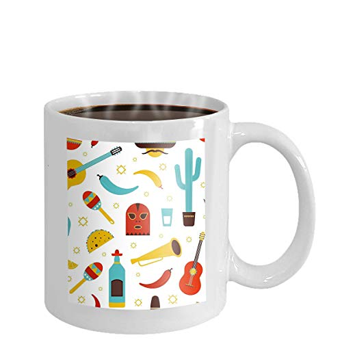 Coffee cup mug colorful mexico seamless pattern traditional mexican attributes white background tequila chili pepper sombrero guitar 11oz