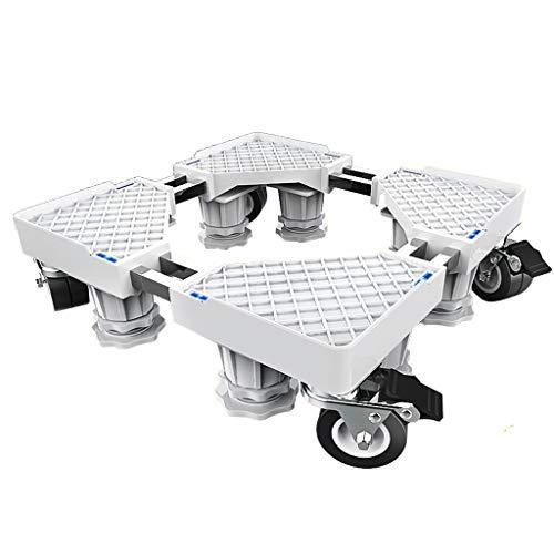 Verstellbar Mobile Base (Verstellbare mobile Bases mit 4 Feststellrollen für Waschmaschine und Trockner, Hochleistungs-Edelstahl-Möbelwagen, tragbarer verstellbarer Basisrollwagen (Farbe : Weiß))