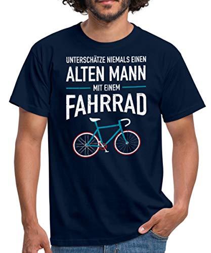 Spreadshirt Unterschätze Niemals Einen Alten Mann Mit Fahrrad Männer T-Shirt, L, Navy - Radfahren Lustige T-shirt