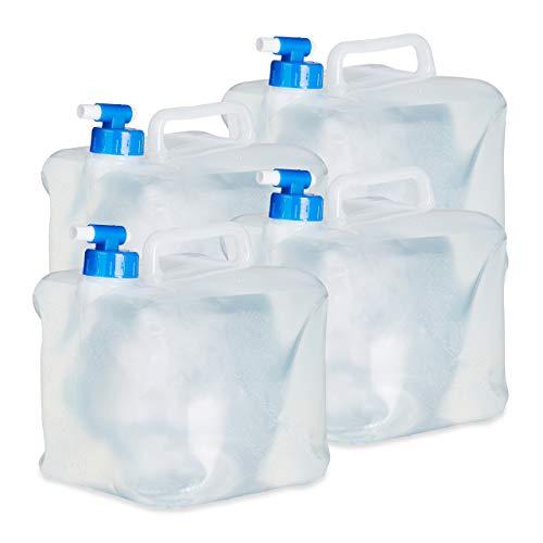 Relaxdays Wasserkanister faltbar 4er Set 5L Quadratisch mit Hahn, Griff, Camping Faltkanister BPA frei, lebensmittelecht