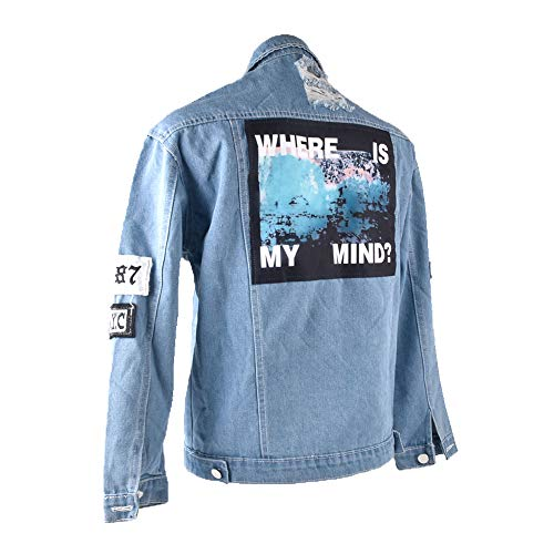 Keven Damen Jeansjacke mit Patches Stretch-Denim Cut-Outs Blau Lose Blouson Jacket (EU 34-36/S)