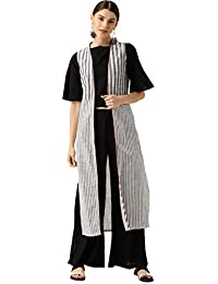 Desi Fusion Women Crop Top With White Stripe Jacket With Black Rayon Palazzo (Black) .