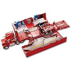 Disney Pixar Cars véhicule Camion Transporteur Mack rouge avec différentes zones de jeu pour voitures, jouet pour enfant, FTT93