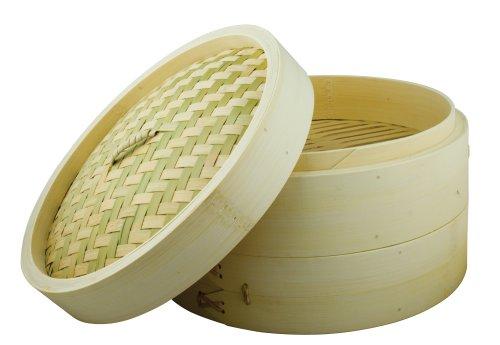 Swift Spice Set - Recipiente de bambú para cocina al vapor (2 pisos + tapa, 25 cm)