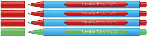 Schneider 152272 Slider Edge XB Lehrer Korrekturset (4er Set Kugelschreiber im Aufsteller mit Strichbreite XB) rot, Grün