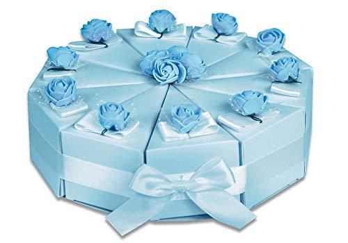 Vetrineinrete® scatoline portaconfetti a forma di torta rosa e blu 3 confezioni con fiori 30 pezzi per battesimo bimbo e bimba in cartoncino con nastro (celeste)