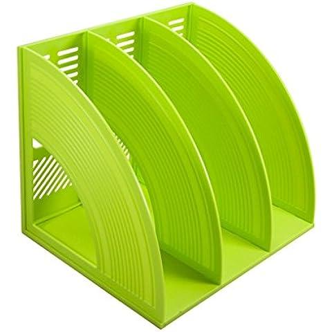 Desk Organizer, sayeec resistente Desktop triplice copia rivista in plastica Frame Divisori documento Armadietto porta display e Storage Organizer Box Triplicated Green