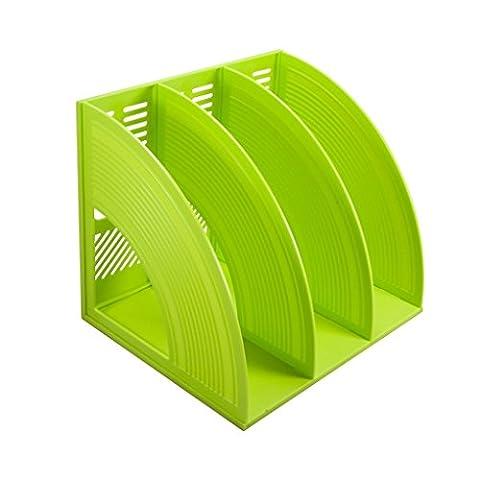 Bureau Trieur de bureau, sayeec robuste feuillets tripli autocopiants Magazine Cadres supports en plastique fichier Intercalaires Document Meuble pour écran et organiseur Boîte de rangement Triplicated Green