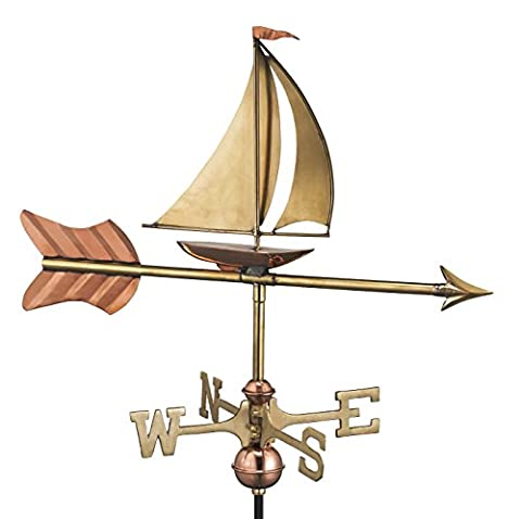 Good Directions 8803PR Sailboat Cottage Weathervane, Polished Copper with Roof Mount