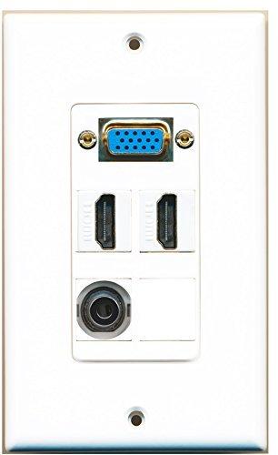 RiteAV-1x SVGA 2x HDMI und 1x 3.5mm Audio Port Wall Plate Weiß - 1-port-wall Plate