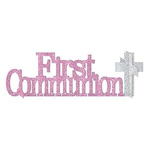 Amscan International-241698primera Comunión rosa Glitter Kit de decoración de mesa