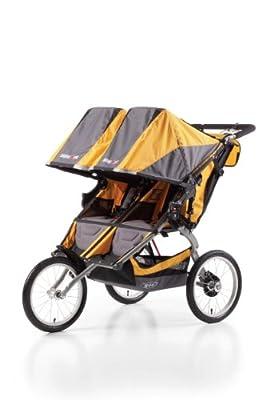 BOB Ironman Duallie - Cochecito todoterreno gemelar de 3 ruedas, color gris y naranja