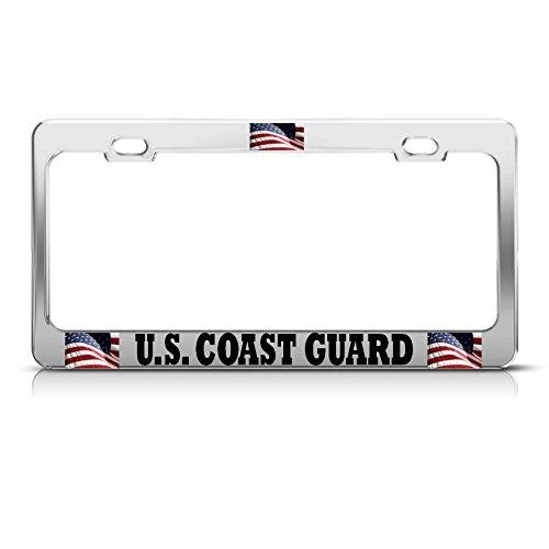 American US Coast Guard Kennzeichenrahmen Metall Patriotische USA Tag Bordüre Perfekt für Männer Frauen Auto Garadge Decor - Coast Guard License Plate