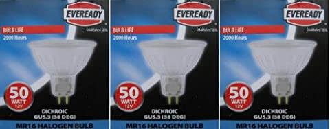 3 x EVEREADY Dichroic 50W 12V MR16 GU5.3 /GX 5.3 Cool Beam Halogen Lamp, Low Voltage Dimmable Reflector GU 5.3 Spot Light Bulb, Wide Flood 38°, 2 Years Life