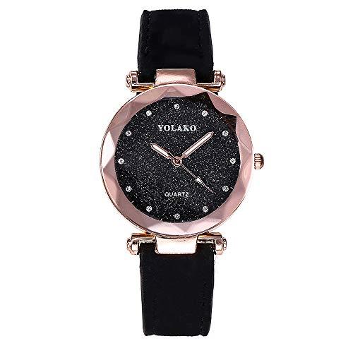 Fymia★★✿✿Lieben Sie für Immer YOLAKO Frauen Casual Quarz Lederband Sternenhimmel Uhr Analog Armbanduhr