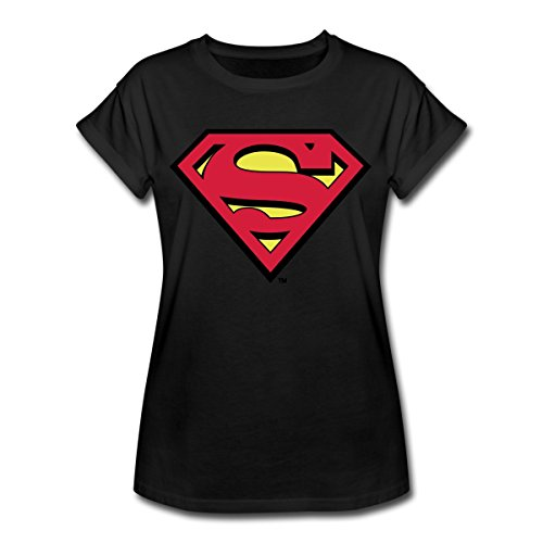 Spreadshirt DC Comics Superman Logo Original Frauen Oversize T-Shirt, M, Schwarz