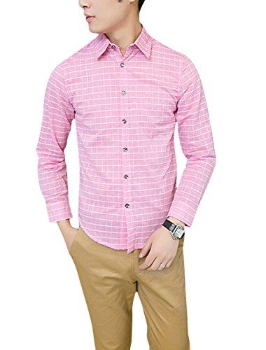 Man Carreaux Point Col Bouton Fermeture Manches Longues T-shirt Rose