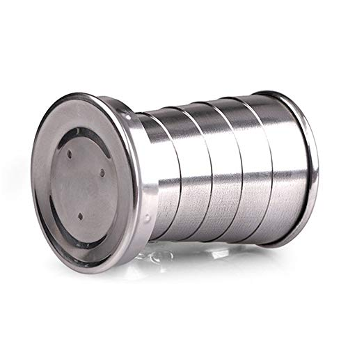 CHOULI Stainless Steel Folding Cup Travel Tool Kit Survival EDC Gear Outdoor Mug Silver Folding Cup