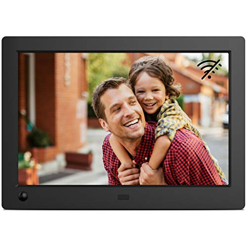 NIX Advance Digitaler Bilderrahmen 8 Zoll (16:10). HD IPS Display für Fotos & Videos. Uhr/Kalender. Auto On/Off (Bewegungssensor). Auto Drehung. Intuitive Fernbedienung