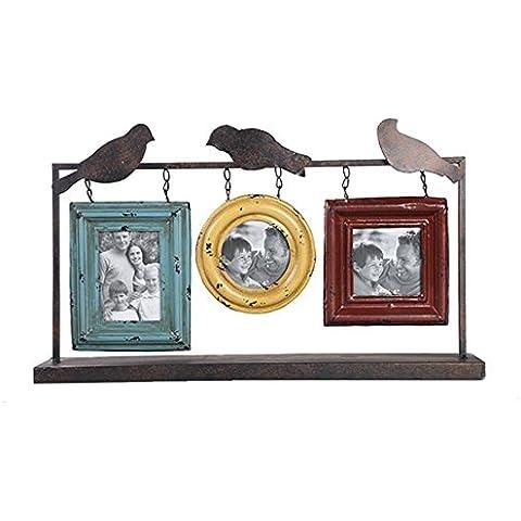 GYN Marco creativo American Country Hierro forjado Foto Con 3 pájaros Artesanías para jardín