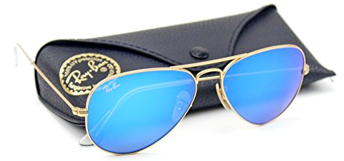 Ray-Ban RB3025 Unisex Aviator Sunglasses Mirrored (Matte Gold Frame/Blue Mirror Lens 112/17, 62)