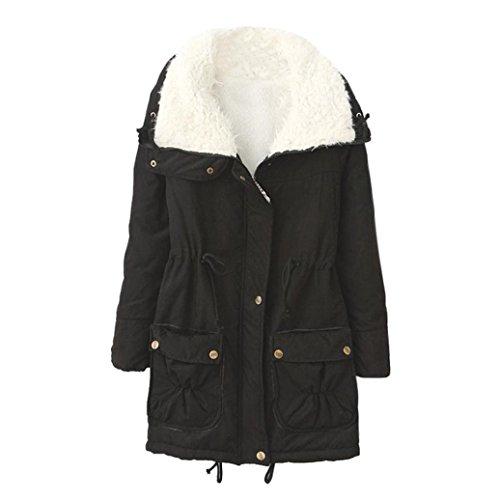 UFACE Damen Parka Warmer Langer Mantel Pelzkragen Kapuzenjacke Winter Parka Outwear (Schwarz-493, L)