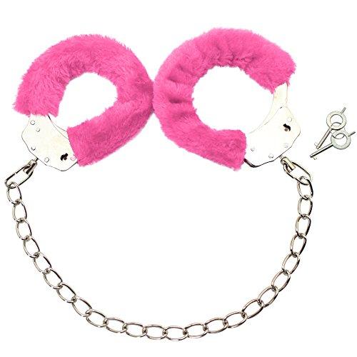 com-four® Fußfesseln mit Plüsch in pink, Fetisch Fessel Handschellen mit Schlüsseln (01 Stück - pink)