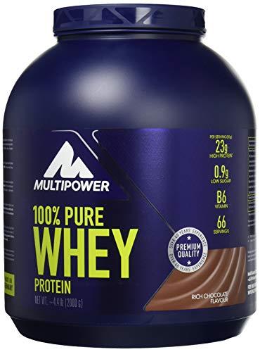 Multipower 100% Pure Whey Protein - wasserlösliches Proteinpulver mit Schokoladen Geschmack - Eiweißpulver mit Whey Isolate als Hauptquelle - Vitamin B6 und hohem BCAA-Anteil - 2 kg
