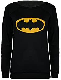LES FEMMES MANCHON LONG SUPERMAN BATMAN ACTION comics STYLE D'IMPRESSION T-SHIRT TOP UK 8 14 LONG SLEEVE SUPERMAN BATMAN ACTION STYLE COMIC PRINT SHIRT TOP