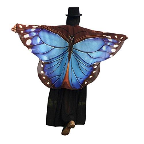 m, Dasongff Damen Schmetterlingsflügel Schal Lose Umhang Kimono Strickjacke Top Shirt Bluse Fasching Halloween Cosplay Kostüm Schal Cape Tuch (160 * 140 cm, Blau) (Halloween-kostüme Aus Den 1920er Jahren)