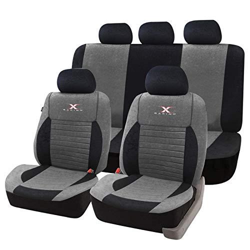 eSituro SCSC0159 Auto Schonbezug, Sitzbezüge für Auto, Dicke gepolstert, universal, schwarz-grau