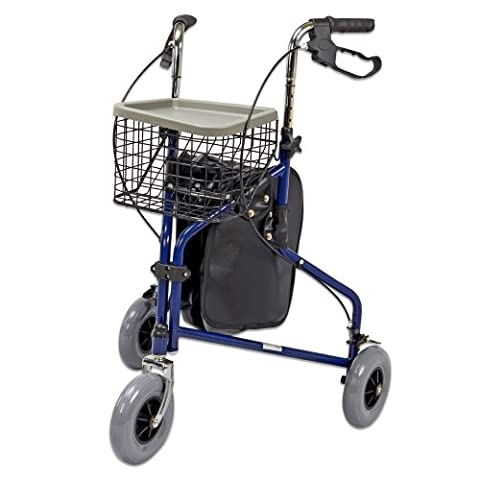 Lightweight 3 Wheel Tri Walker Rollator with Lockable Brakes and Carry Bag in Blue