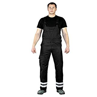 Arbeitslatzhose Hi Viz Work Bib and Brace Overalls Work Bib and Brace Black/Grey Size J To T - Black -